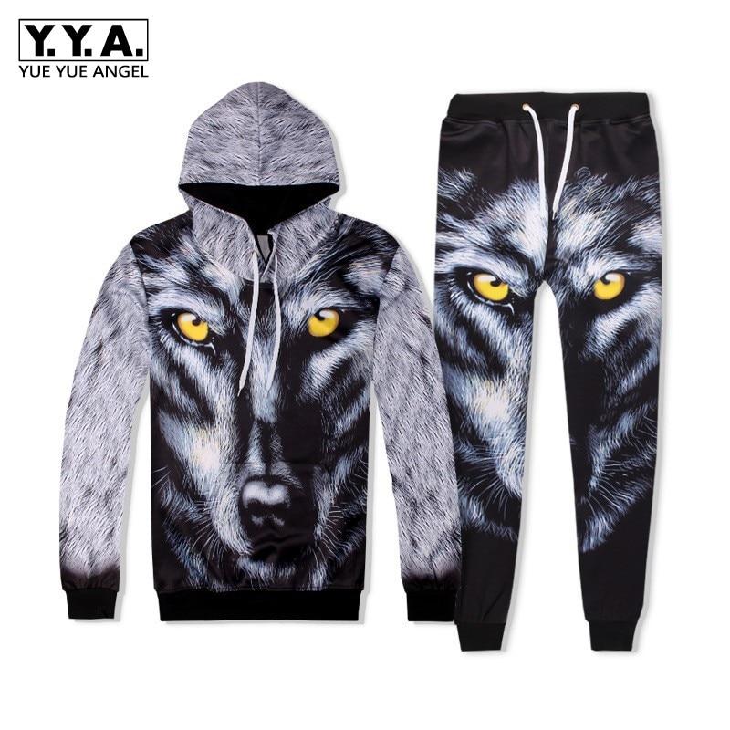 Fashion Men Hip Hop 3D Wolf Printed Hoody Sweatshirt Two Piece Set Jogging Tracksuit Ensemble Homme High Street Casual Cloth Set