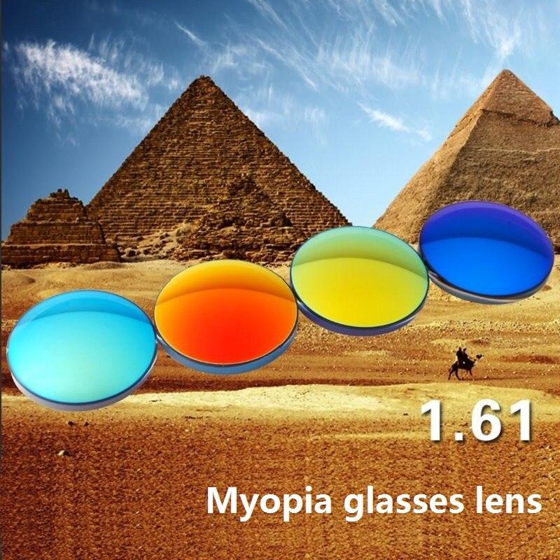1 61 Polarized colorful Spherical brand myopia eyeglasses lenses prescription optical reflective Myopia sunglasses resin lenses