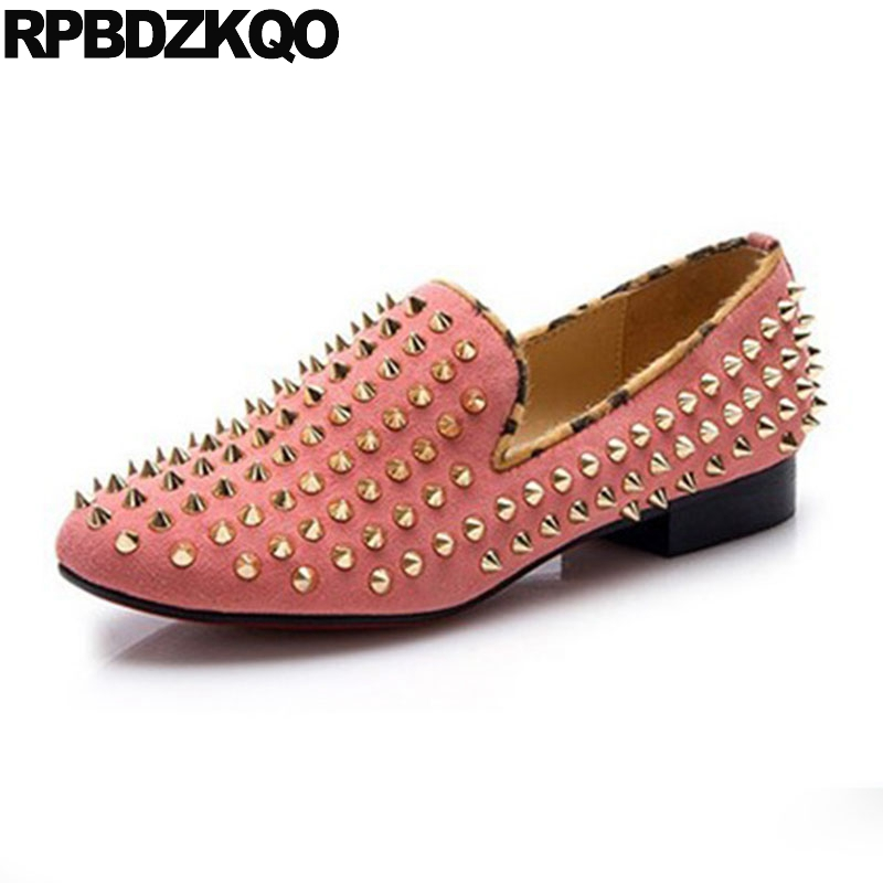 Metal Stud Designer Shoes Women Luxury 2018 Rivet Italian Loafers Flats Suede Runway Peach Ladies Pink Square Toe Slip On women ladies flats vintage pu leather loafers pointed toe silver metal design