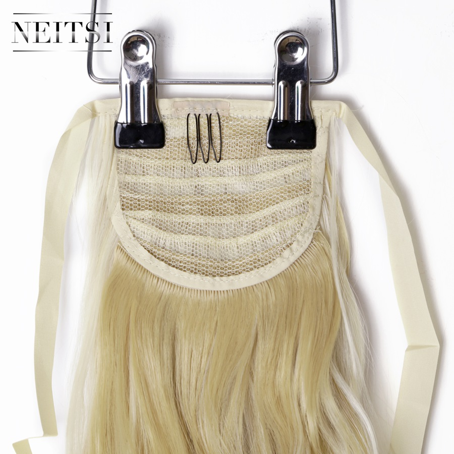 Купить с кэшбэком Neitsi Curly Long Clip In Hair Tail False Hair Ponytail Hairpiece With Hairpins Synthetic Hair  F22-613#