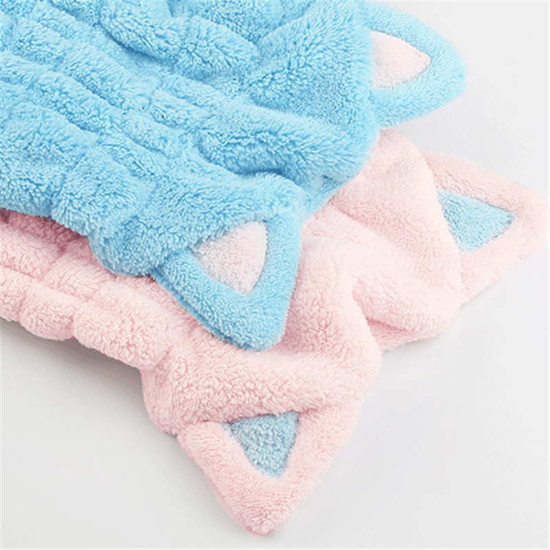Lovely Cat Soft Bath Towel Cap With Strong Absorbing for Home Use or Travel 5