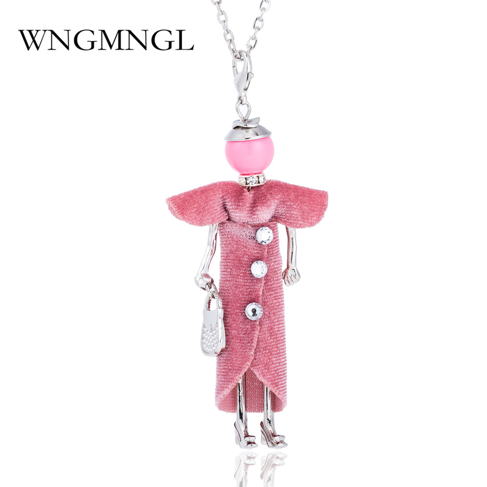 WNGMNGL 2018 Statement Doll Necklace Dress Handmade French Doll Pendant New Alloy Girl Women Necklace Fashion Jewelry in Pendant Necklaces from Jewelry Accessories
