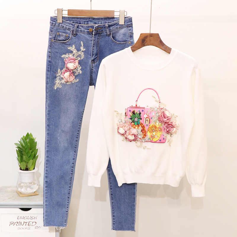 2019 демисезонный женские Джинсовый комплект мода бисер цветы с длинным рукавом женский полувер + узкие джинсы для женщин из двух частей