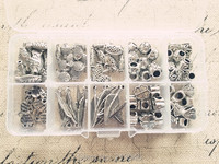 (Big hole bead & charme) 100 stks/set mix 10 stijl antieke zilveren sieraden bedels kralen bevindingen & accessoires