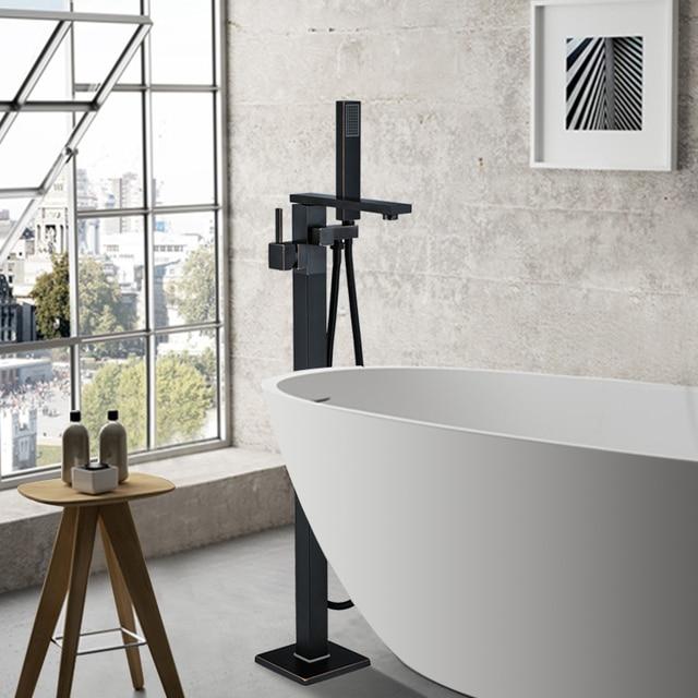 Contemporary Black Bronze Bathroom Shower Bath Tub Mixer Tap Bathroom Faucet Floor Mounted Tub Tap Single Handle W/Hand Shower