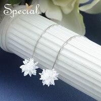 Special Brand Fashion 925 Sterling Silver Ear Wire Earrings Crystal Long Stud Earrings New Jewelry Gifts
