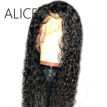 ALICE Pre Plucked Curly Human Hair Wigs 130% Lace Front Human Hair Wigs Glueless Remy Brazilian Lace Front Wigs With Baby Hair(China)