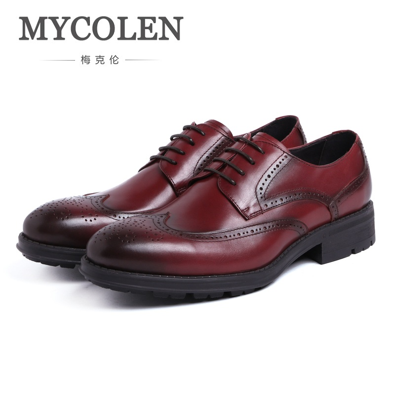 MYCOLEN Spring And Autumn Genuine Leather Dress Shoes Round Toe Lace Up Low Shoes Business Casual Shoes Men Office Work osco men shoes spring autumn genuine leather business casual shoes round toe slip on comfortable low shoes office work shoes