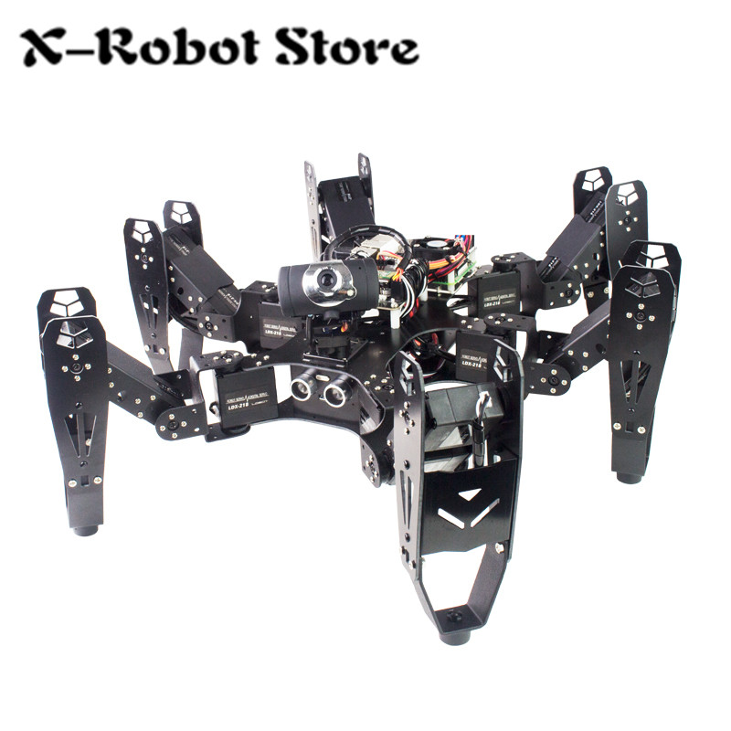 18DOF robot Raspberry Pi six foot robot RaspberryPi open source Python for wireless wifi video transmission remote control ...