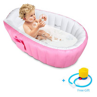 Inflatable Bath Tub Baby Tub Cushion Safety Bathtub for Newborn Swimming Pool Thick Portable Shower Bathtub Air Pump Free Gift