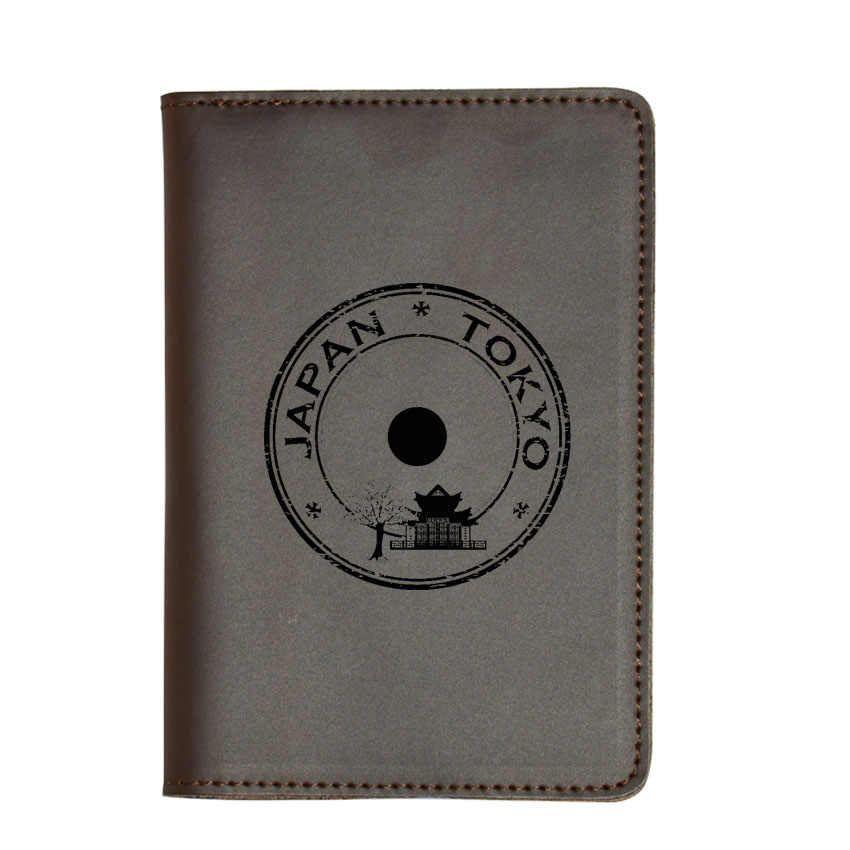 Гравировкой творческий Япония Токио дорожный бумажник с отделением для паспорта кожа Винтаж карты Обложка для паспорта на заказ имя простой Дорожный Чехол