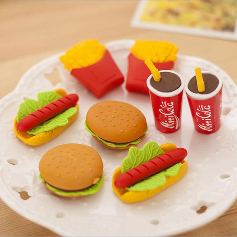 5pcs Kawabata Cake Burger Food Drink Coke Eraser Stationery Set School Supplies Cute Fruit Novelty Child Gift