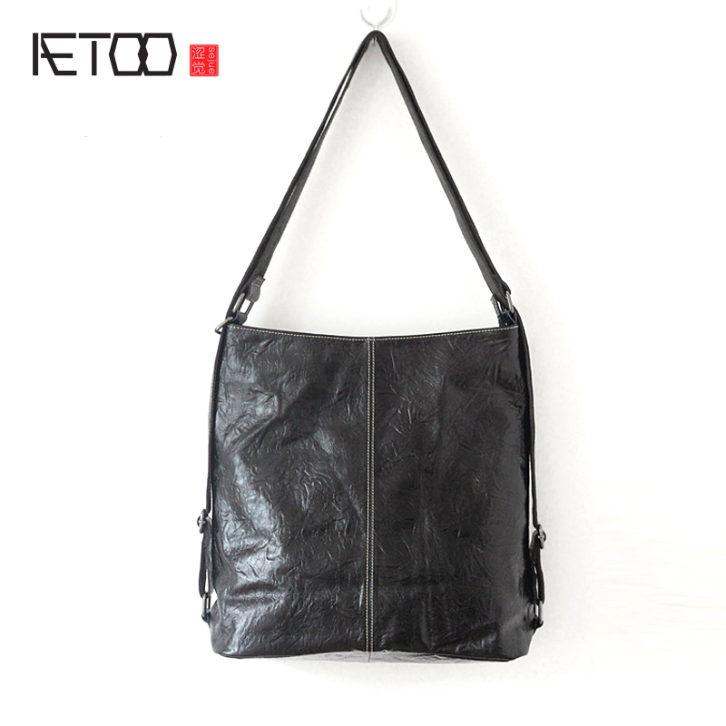 AETOO New leather handbags simple and casual hand grip pattern wrinkles head layer of leather bag soft leather ladies handbag