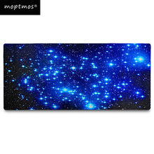 лучшая цена Blue Starry Mouse Pad, Extended Speed Large Size Computer Keyboard Mouse Mat Water Resistant Non-Slip Mouse Pad Stitched Edges