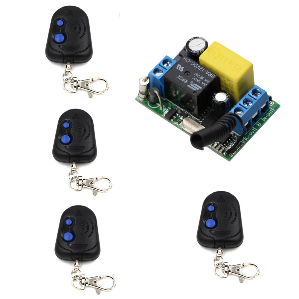 New Product Smart Wireless Remote Switch 220V Power Switch System Receiver 4 Transmitter 10A Light Lamp