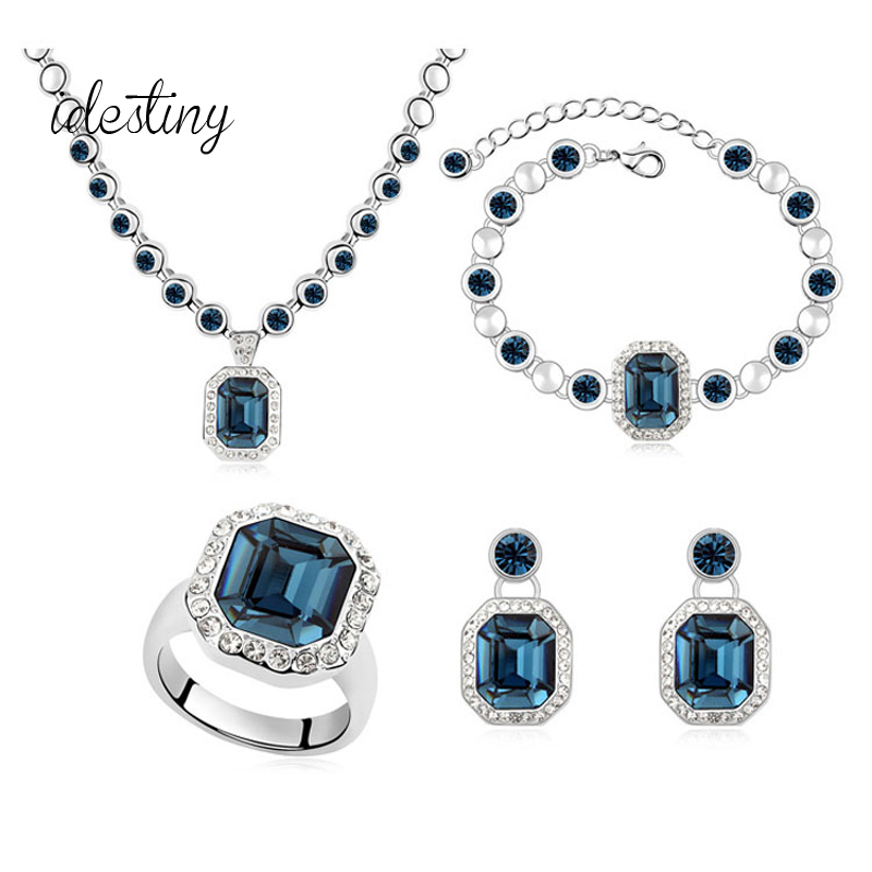 IDESTINY Rhinestone Crystal Bridal Necklace Wedding Set Made with Austria Cristal For Women Engagement Wedding Party Bijoux Gift yoursfs heart necklace for mother s day with round austria crystal gift 18k white gold plated