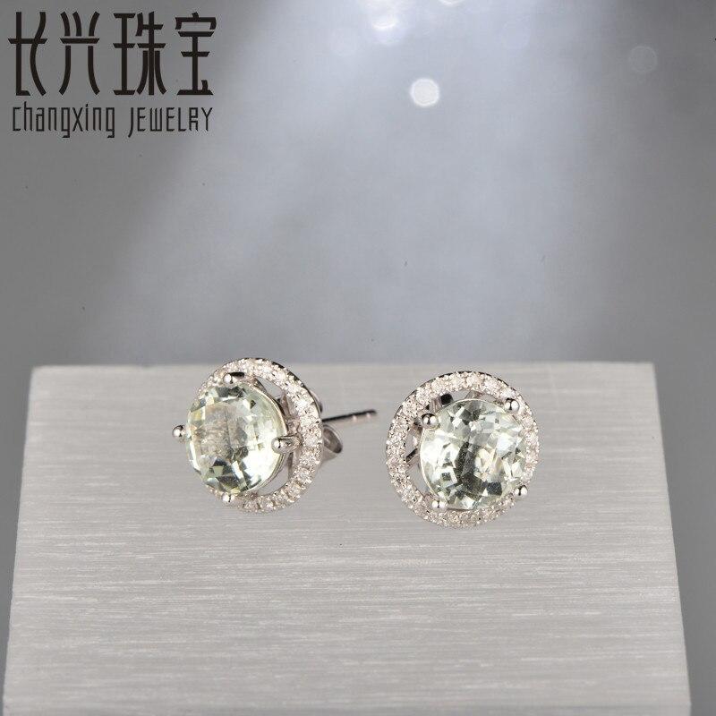 Caimao Jewelry 18KT White Gold 6x8mm Oval Cut 2.16ct Pink Tourmaline & 0.30ct Diamond Engagement Earrings free shipping 6