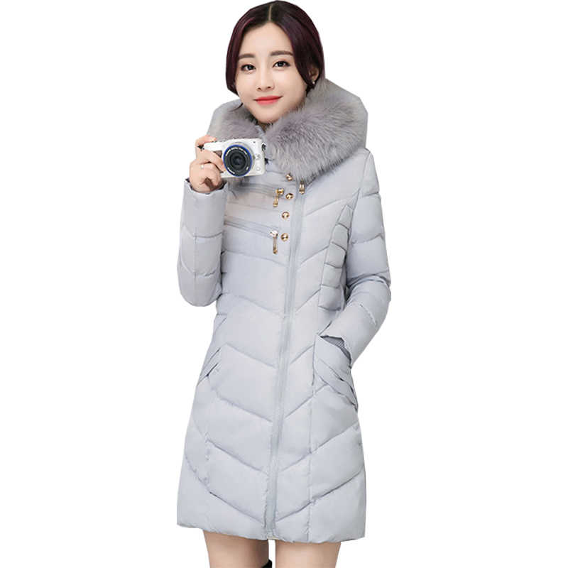 a9b04b06fb54 2019 Korean women coats padded winter jacket long thick warm coat fur  collar jackets large size