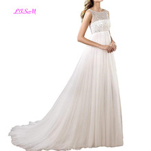 Maternity Wedding Dresses Empire-Waist A-Line Tulle Plus Size Bridal Gowns Crystals Beaded Long Dress vestido de noiva