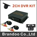 2ch CAR DVR kit, including 1pcs 2CH car dvr, 2 car cameras, 2 video cables, DIY installation DVR kit