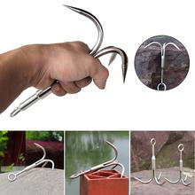 Stainless Steel Climbing Claw Ice Rock Hook Hiking Tools Large Outdoor Survival Mountaineering Flying Grappling