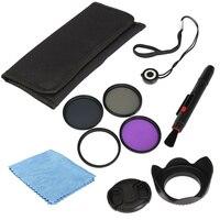 Professional UV FLD CPL ND4 58mm Circular Polarizer Protector Polarizing Filter Kit Lens Hood Cap For