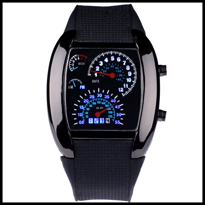 1pcs Fashion Watch Men Sports Led Watches Race Speed Car Meter Dial Silicone Strap Men Male Clock Hours Military Watches стоимость