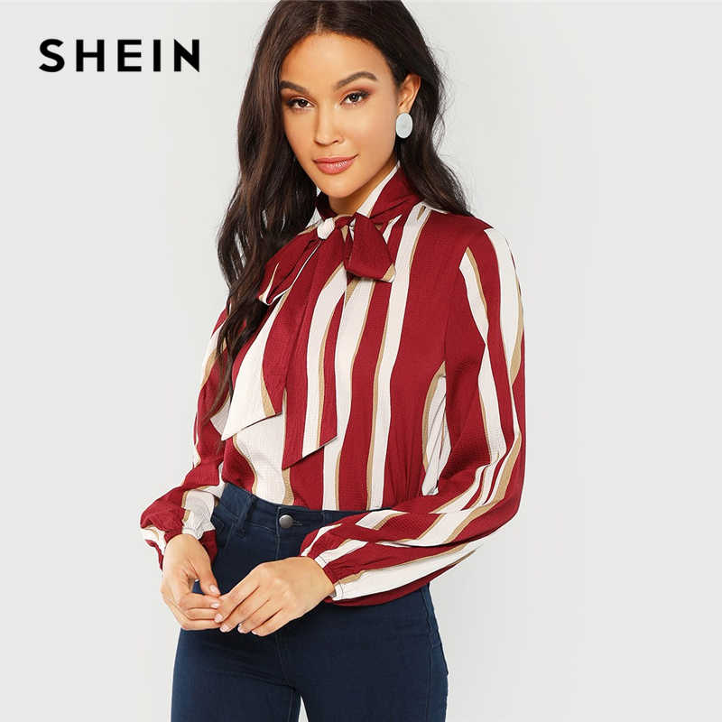 65b1656b5b SHEIN Multicolor Tie Neck Striped Blouse Workwear V Neck Long Sleeve  Blouses Women Autumn Office Ladies