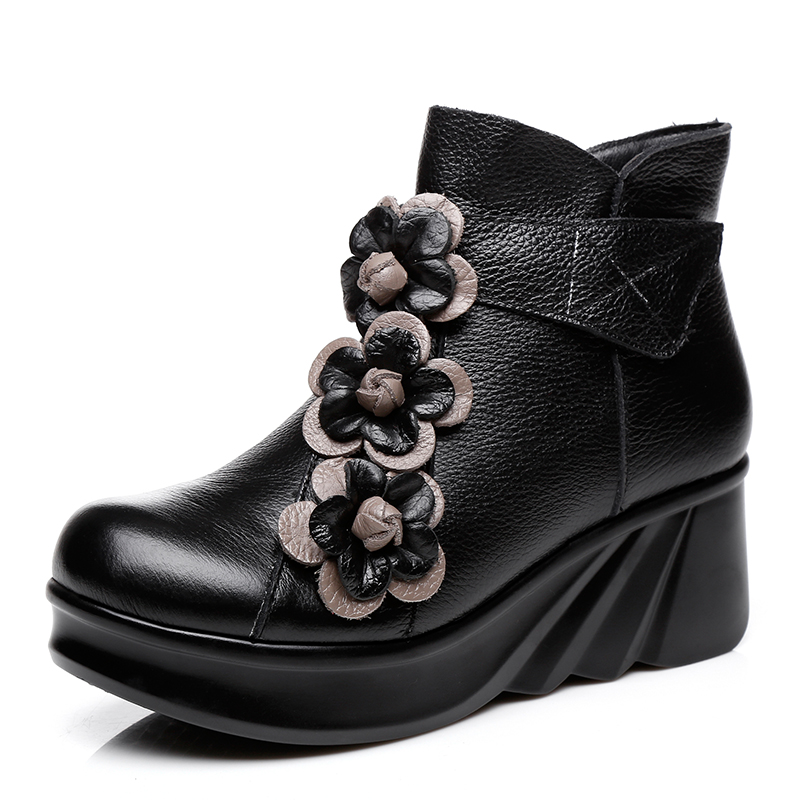 Women Leather Boots Flower 5 CM High Heel Black Wedge Shoes Winter Warm Leather Ankle Boot Women Handmade Retro Shoe Women 2018 women leather ankle boots black 5 cm high heels wedge shoes winter warm short plush retro martin boots leather women handmade