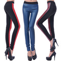 New Sexy Girl AB Stitching Colorful Faux PU leather Prints High Waist Elastic Slim Fitness Workout Women Leggings Pants Trousers