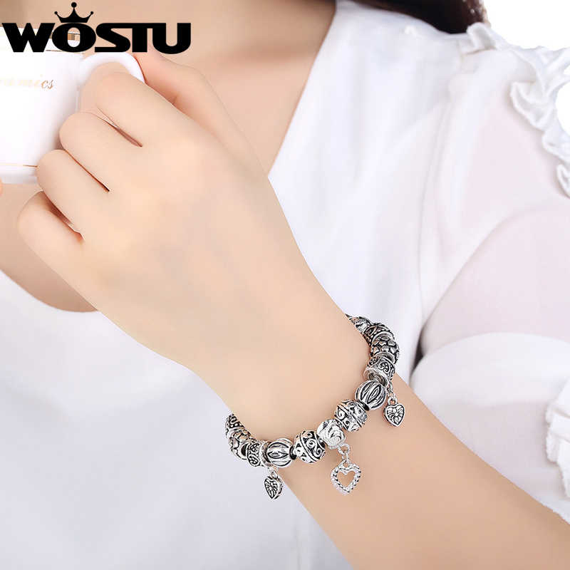WOSTU מכירה לוהטת כסף DIY חרוזים צמיד לנשים תכשיטים מקורי קסם צמידי Pulseira מתנת XCH1431
