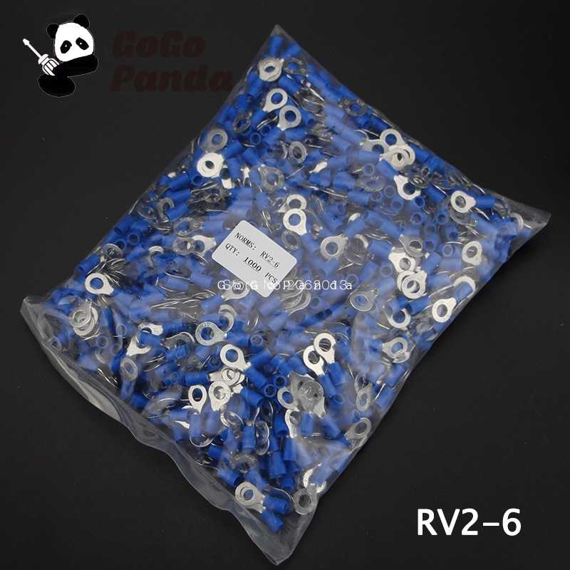 1000PCS RV2-(3 4 5 6 8 10 12) Ring Insulated Terminal Cable Crimp Terminal Suit 1.5-2.5mm 16-14 Cable Wire Connector  AWG