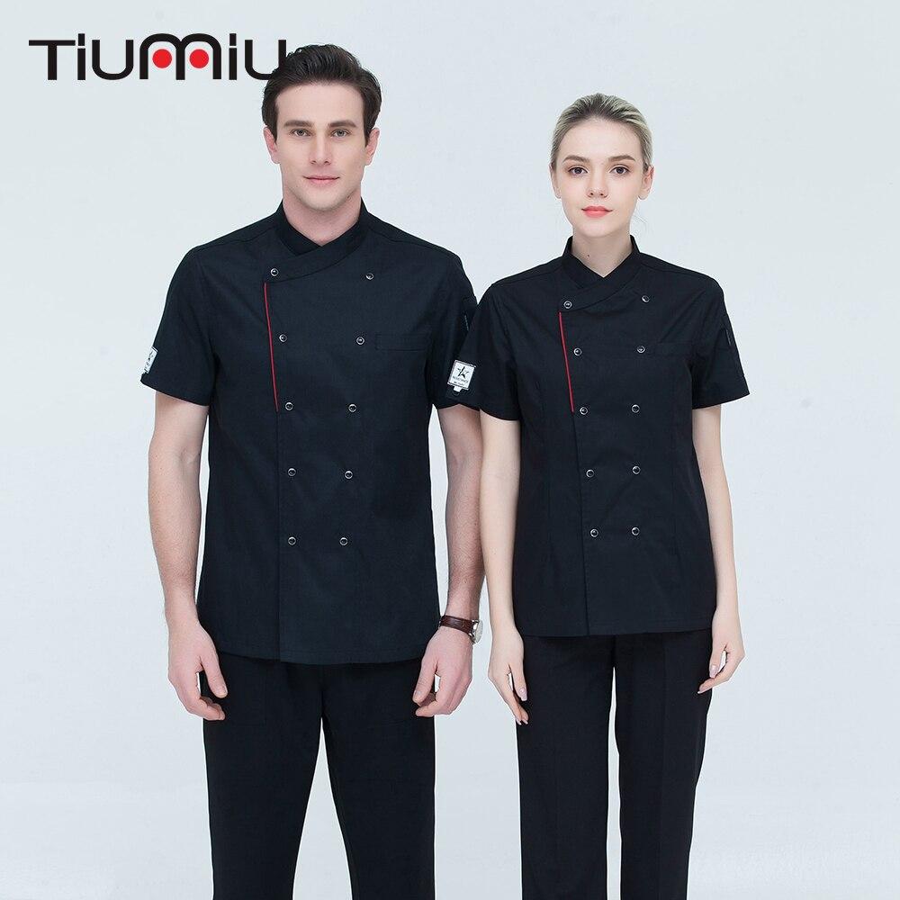 Alta Qualidade Unisex ShortSleeve Double Breasted Jaqueta de Catering Cozinha Chef Do Hotel Restaurante Sushi Chef Macacão Uniformes de Padaria