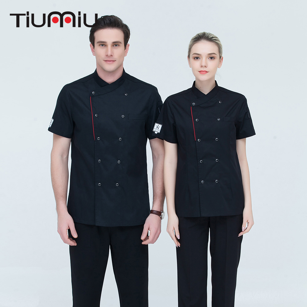 High Quality Unisex ShortSleeve Double Breasted Kitchen Hotel Chef Jacket Catering Restaurant Bakery Sushi Chef Uniform Overalls