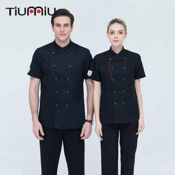 High Quality Unisex ShortSleeve Double Breasted Kitchen Hotel Chef Jacket Catering Restaurant Bakery Sushi Chef Uniform Overalls фото