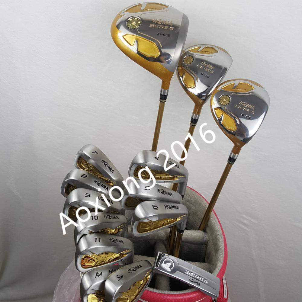 Golf Clubs Complete Set Honma Bere S-05 4 star golf club sets Driver+Fairway+Golf iron+putter(14piece) NO Golf bag free shipping soft neoprene golf club iron putter head cover set black 11 piece