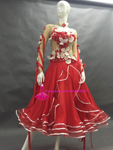 Ballroom Competition Dance Skirt Ladys Long Sleeve Elegant Modern Flamenco Waltz Dresses