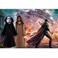 Star Wars The Force Awakens Cosplay Costume Kids Darth Vader Cape Children Hooded Black Coffee Jedi