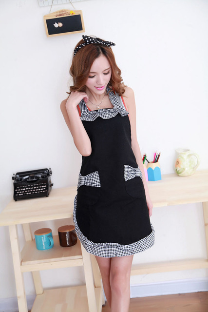 Newest Hot Fashion Cute Style Vintage Womens Bowknot Kitchen Bib A Dress With Pocket Gift