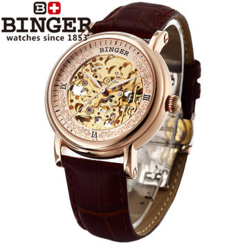 Genuine Binger men hollow big watches limited edition automatic mechanical watch brand designer cow leather rose gold wristwatch binger genuine gold automatic mechanical watches female form women dress fashion casual brand luxury wristwatch original box