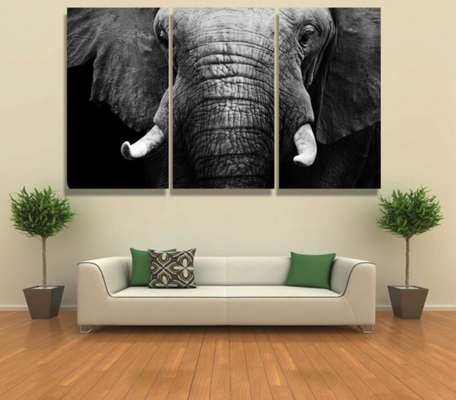 11 27 50 De Réduction Encadré 3 Pièces Abstrait Blanc Noir éléphant Moderne Décor à La Maison Toile Impression Peinture Mur Art Photo Salon Mur Art