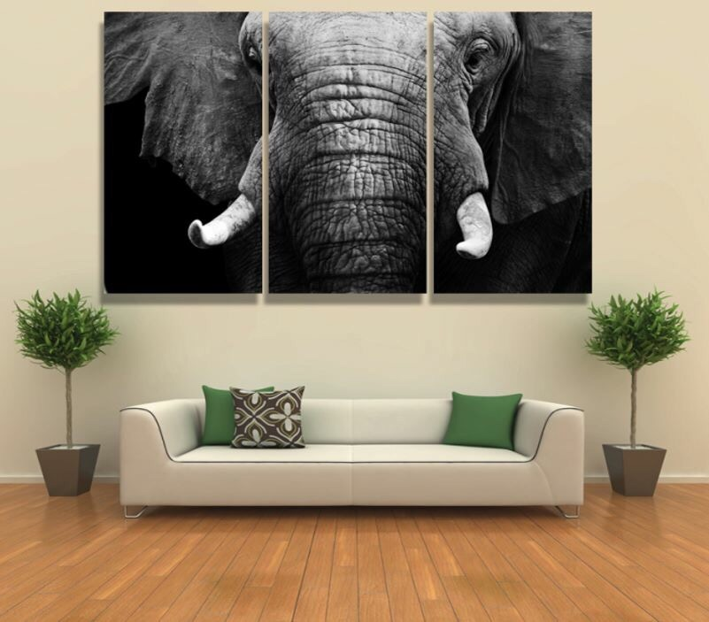 framed 3pcs abstract white black elephant modern home decor canvas print painting wall art. Black Bedroom Furniture Sets. Home Design Ideas