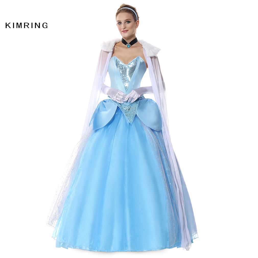 Kimring Deluxe Princess Cinderella Costume Noble Jewel Accent Ribbon Choker Costume Ball Gown costume