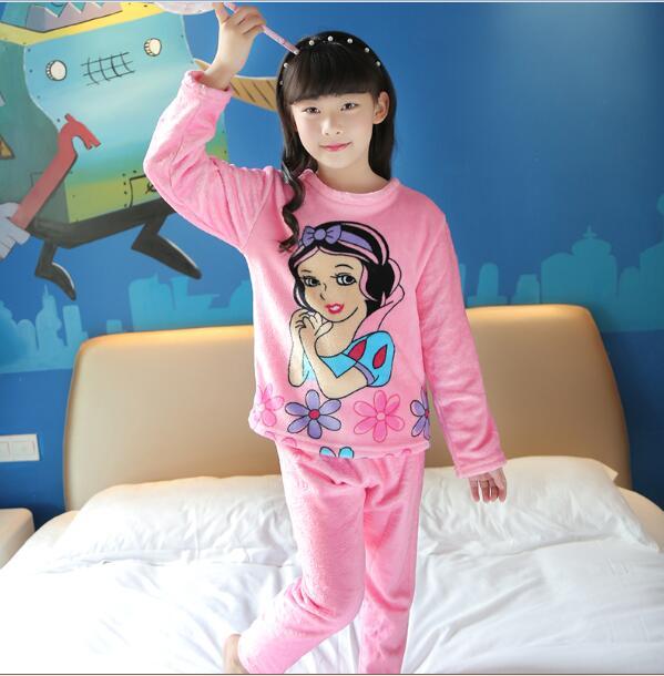 9af91588e Autumn Winter Children Fleece Pajamas Warm Flannel Sleepwear Girls ...