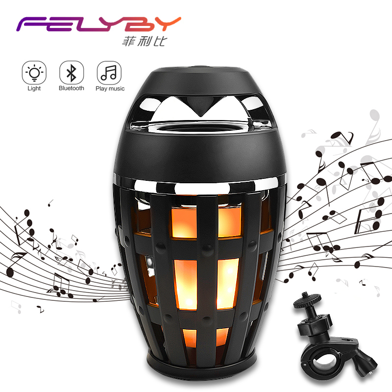 HOT! FELYBY High quality Flame Light Wireless Bluetooth Speaker for Phone Computer & Audio Stereo Portable Outdoor speaker