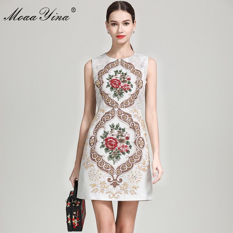 Robes De Sans Haute Élégante Vintage Qualité Floral Fashion D'été Moaayina Femmes Designer Piste Multi Mince Perles Robe Manches 7xnq6Sg