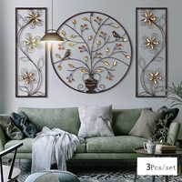 3D Stereo Flower Bird Iron Wall Hanging Mural Furnishing Craft Home Livingroom Background Wall Accessories Decoration R1199