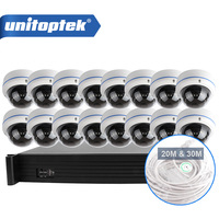 Unitoptek 16CH 1080P POE NVR System Kit 48V POE NVR 16PCS Full HD 1080P Dome IP