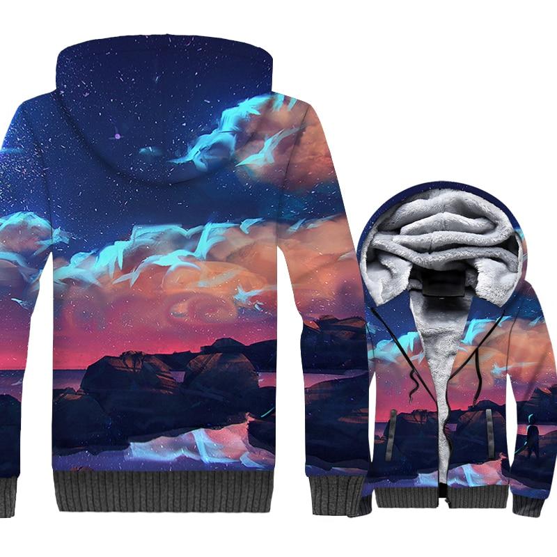 Could Jacket Men 3D Print Spirited Away No Face Hoodie Nightfall Sweatshirt 2018 Winter Thick Fleece Warm Zipper Harajuku Coat