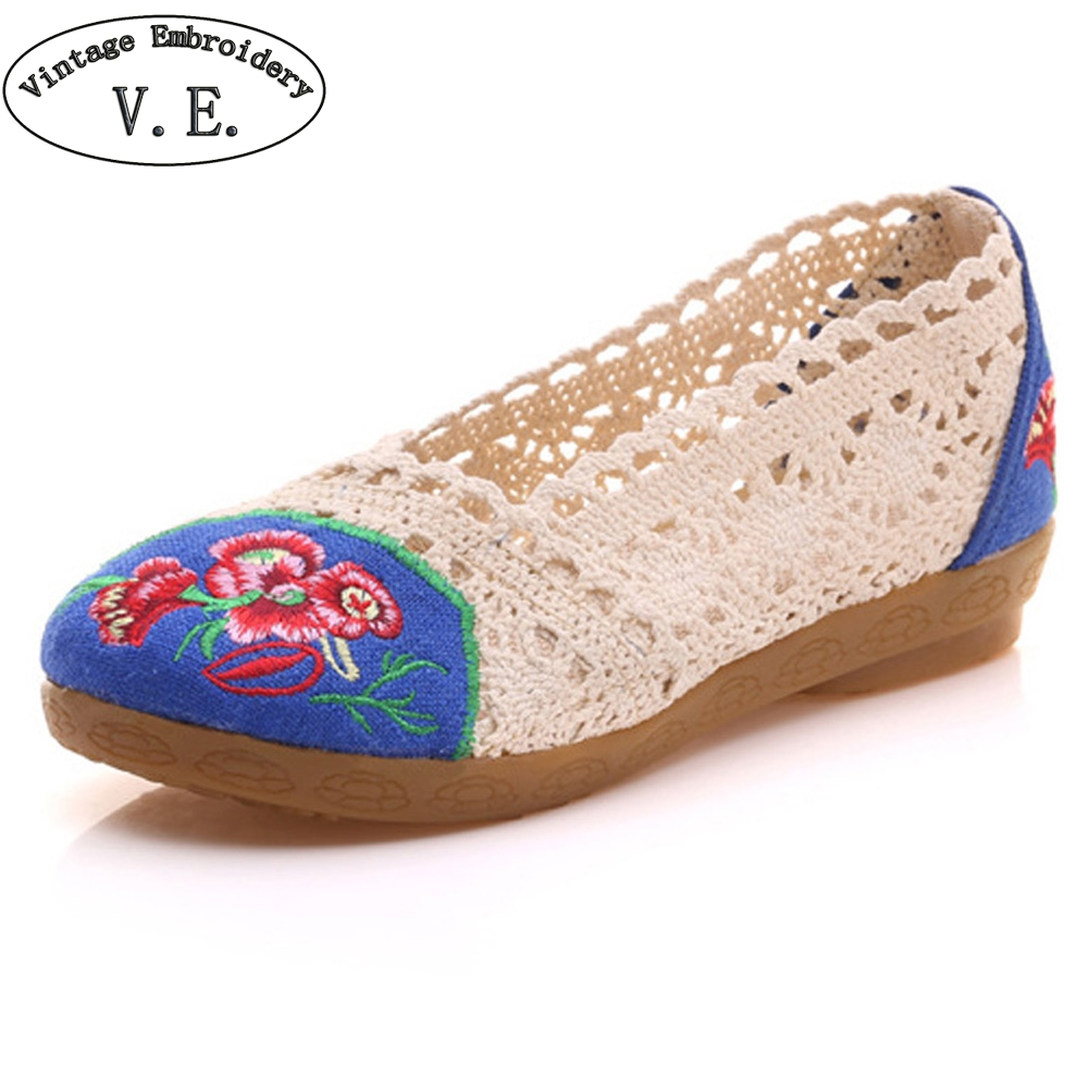 Women Shoes Flats Breathable Lace Floral Embroidered Summer Ballets Slip On Ladies Casual Soft Cotton Zapatos De Mujer vintage embroidery women flats chinese floral canvas embroidered shoes national old beijing cloth single dance soft flats